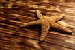 Starfish on a brown wooden table