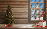 Christmas scene with tree and decorations, lights, ornaments, balls, gifts. Wall and window in background.