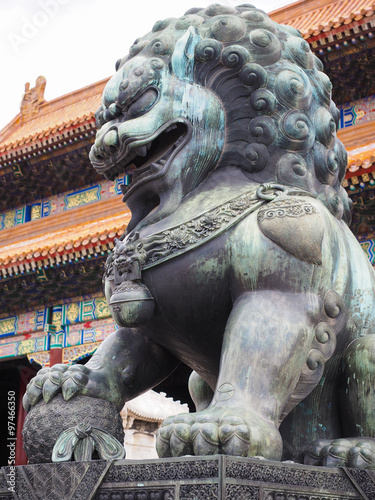 Chinese guardian lions in forbidden city Poster