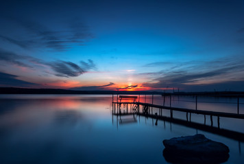 Blue hour. Stunning long exposure sunset on the lake.