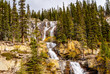 Tangle Falls at the Ice Fields Parkway in Jasper national Park in the Canadian Rockies