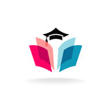 Education logo concept with graduation cap and open book pages.