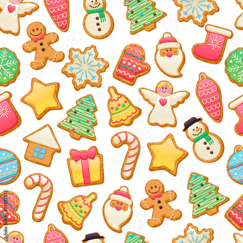 Cotton fabric Colorful beautiful Christmas cookies icons pattern.