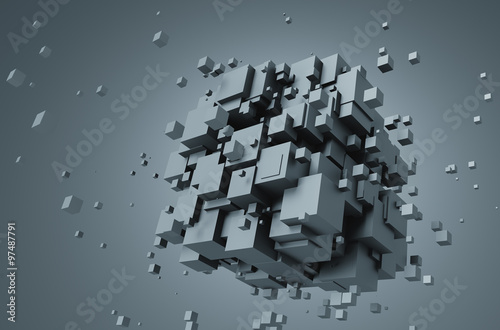 Fototapety, obrazy : Abstract 3D Rendering of Chaotic Cubes.