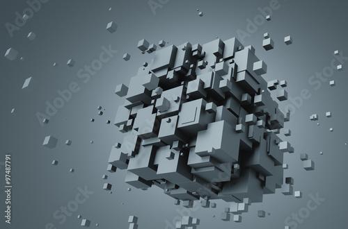 Zdjęcia na płótnie, fototapety na wymiar, obrazy na ścianę : Abstract 3D Rendering of Chaotic Cubes.