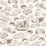 Vector bakery retro seamlrss pattern.