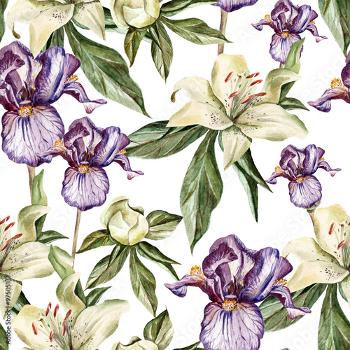 Watercolor pattern with flowers  iris, peonies and lilies, buds and petals - 97505183