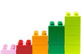 Fototapety Lego graph of lego bricks isolated on a white background.