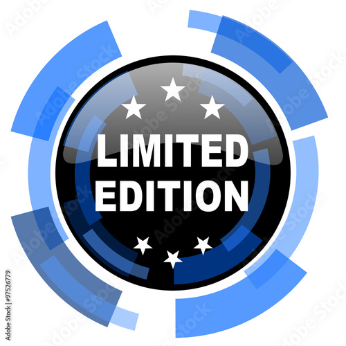 """""""limited edition black blue glossy web icon"""" Stock photo ..."""