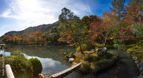 Panorama view of Tenryu-ji garden