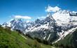 Постер, плакат: Mountain peaks and glaciers in Dombay Western Caucasus Russia
