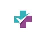 health cross check mark logo template