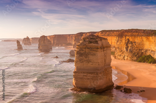 Beautiful sunset view at coast of Twelve Apostles by Great Ocean