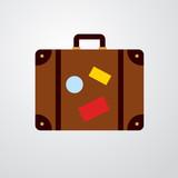 Icono plano maleta color en fondo degradado