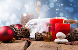 spa concept, wellness objects on wood plant , christmas background. Present holiday concept.  - 97548337