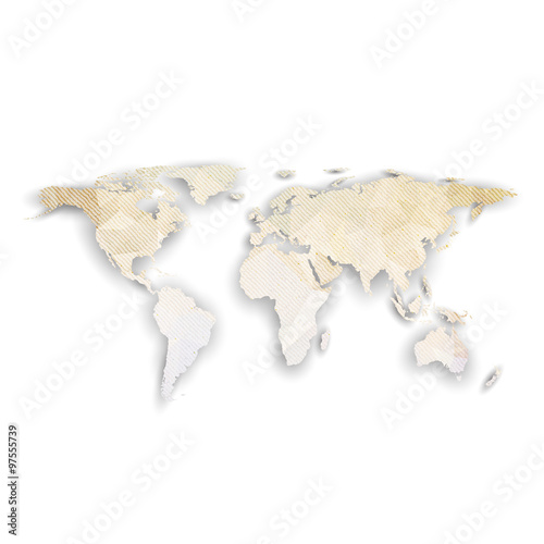 Fototapeta World map with shadow, textured design vector illustration