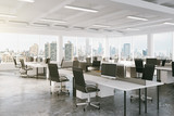 Fototapety Modern open space office with city view