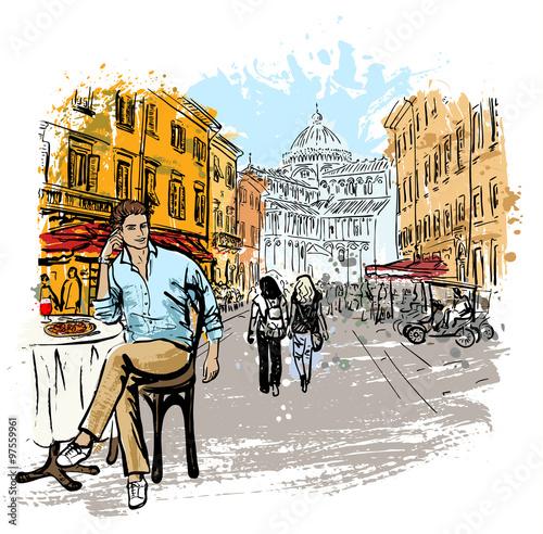 Fototapeta man sitting in cafe