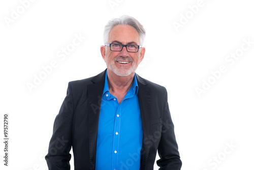 Poster glücklicher grauhaariger senior