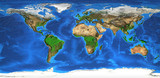 High resolution world map and landforms