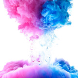 Pink and clue paint clouds in water, white background - 97594175
