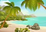 Fototapety Tropical beach vector background