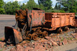 Copper Ore Loader sits rusting in the Upper Peninsula of Michigan.  Loader is an equipment remnant of the Copper Mining Industry.