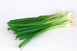 fresh bunch green onion on white background - 97619754