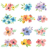 Vector illustration of watercolor flowers.