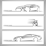 Fototapety Modern sports car silhouettes. Vector background