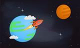 Mars & earth vector illustration