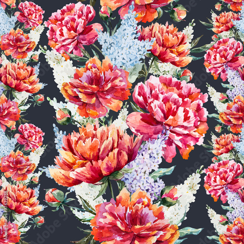 Watercolor floral pattern - 97639788