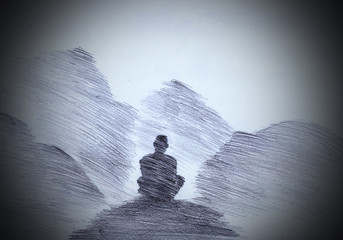 Buddhist monk in the mountains