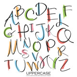 Fototapety Black colorful alphabet uppercase letters.Hand drawn written wit