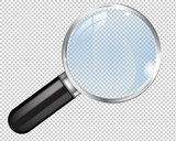 Transparent Magnifying glass. Search icon