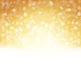 Golden sparkling Christmas, holiday background with blurry light