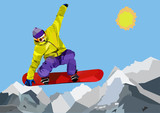 Snowboarder jumping and making tricks in mountains. Colorful WPAP vector illustration