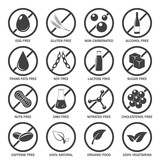Allergen icons vector set.