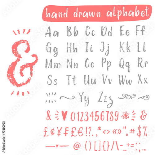hand drawn scratch vector font with uppercase lowercase letters