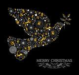 Fototapety Merry christmas dove bird silhouette gold reindeer