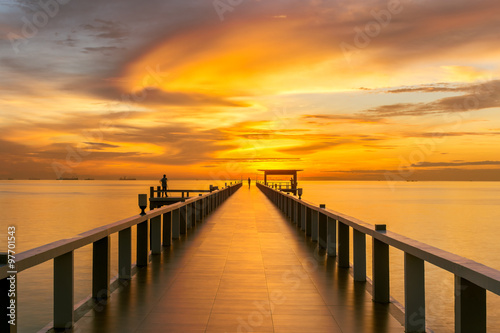 fototapeta na ścianę Wooden pier between sunset in Phuket, Thailand