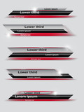 Set of red, black, gray banners of lower third. Vector illustration. - 97702370