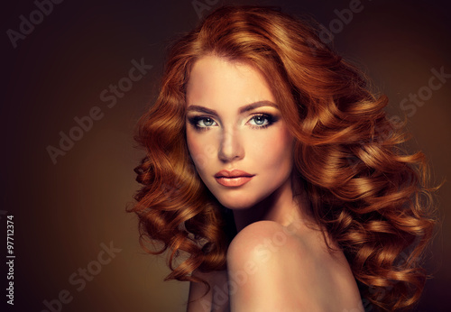 Girl model with long red wavy hair Poster