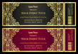 Vintage black and red ticket with golden ornament  - 97719554