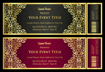 Vintage black and red ticket with golden ornament