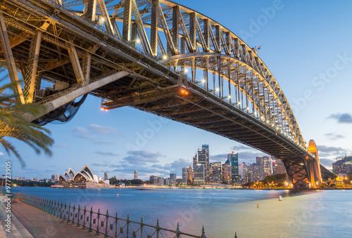 Poster Sydney, Australia. Amazing skyline at dusk