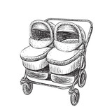 Hand drawn baby carriage sketch