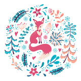 Fox with winter flowers and snowflakes