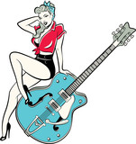 Rockabilly pinup girl wearing a bandana and high heels sitting on a guitar