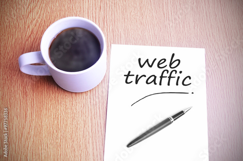 Poster Coffee on the table with note writing writing web traffic
